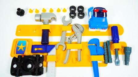用工具和汽车零件组装成珀利警车玩具