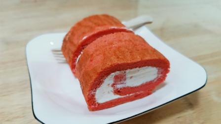 糕点|粉嫩的红丝绒蛋糕卷,抹上香甜的淡奶油,比血红色更好入口