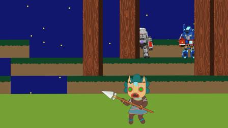 迷你世界动画32:变形金刚擎天柱、威震天半夜狩猎野人