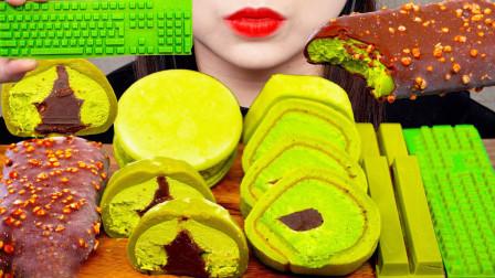柚子看天下 抹茶风味的零食,完全控制不住食欲,味蕾被撩动