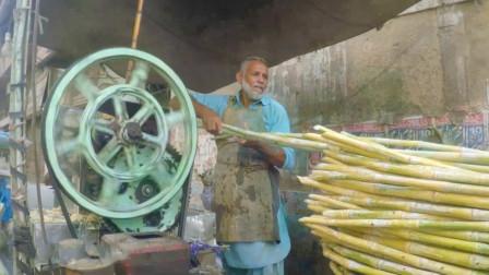 印度街头的爆款饮料:鲜榨甘蔗汁!做法干净美味,看完你想喝吗?