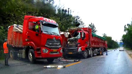 交通事故合集:重载大货车超速行驶,临近路口刹车已来不及