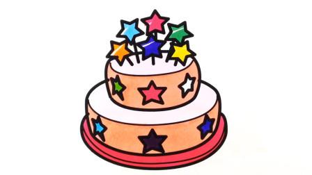 小范亲子简笔画 一个生日蛋糕