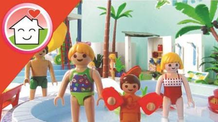 亲子游戏玩具故事:小萝莉来到超大水上游乐园,都玩了哪些项目?