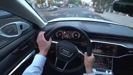 试驾2020款奥迪A645TFSI,按下钥匙打开车门坐进驾驶舱,霸气开始
