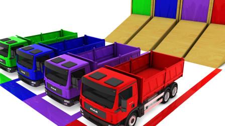 大卡车通过彩色瀑布都被染了颜色