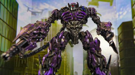 开箱变形金刚DOTM电影系列 SS-56领袖级震荡波 机器人玩具