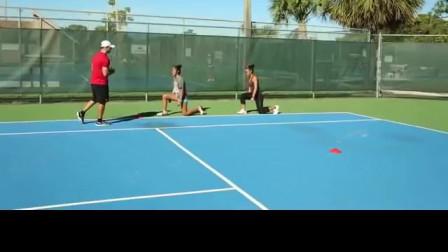 网球下蹲快速侧向跑动练习