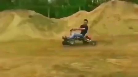 牛人创意:广东大哥自创四轮车,这速度堪比美国山地车,赶紧申请专利吧!