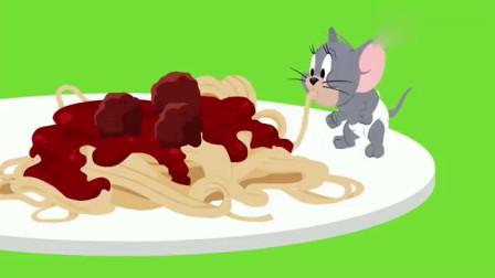 猫和老鼠:汤姆饿的出现幻觉,把斯派克和杰瑞当成了吃的