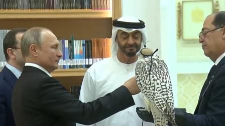 普京和穆罕默德·本·扎耶德·纳哈扬交换礼物
