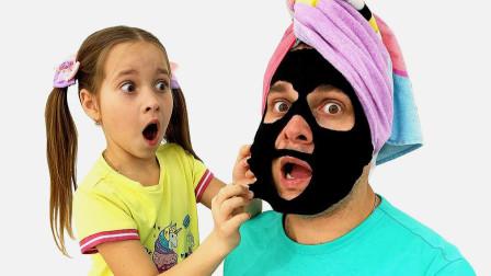 儿童亲子游戏:小女孩给老爸剪头发,设计创意发型