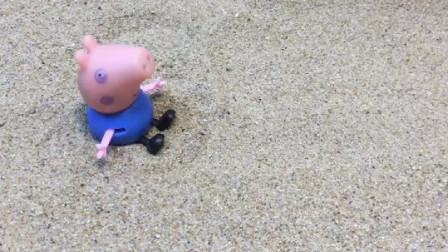 乔治想叫人抓他,结果怪兽来抓了他,但是怪兽碰到了猪妈妈!