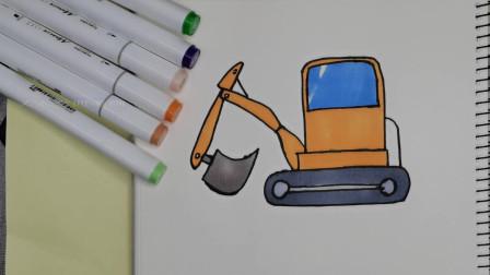 简笔画挖掘机  小男生都喜欢  简单易学