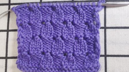 小方块镂空花编织教程,花型立体,适合编织各种中性款式的毛衣图解视频