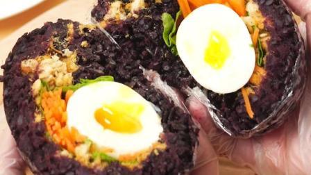 带饭又有新花样!教你做紫米饭团,好吃营养又饱腹