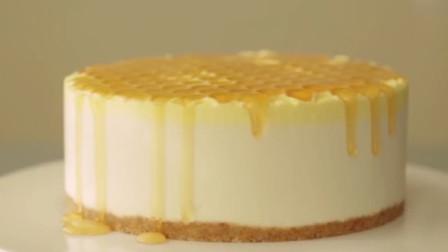 【蜂蜜芝士蛋糕】不用烤箱哦,蜂蜜淋在蛋糕上的瞬间,心都融化了~