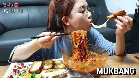 韩国真香吃播:凉拌面+芝士酪,大口吞咽不用嚼,这才是正宗吃货