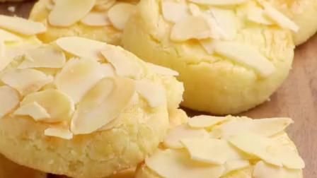 超简单的杏仁曲奇饼干做法,香酥可口~