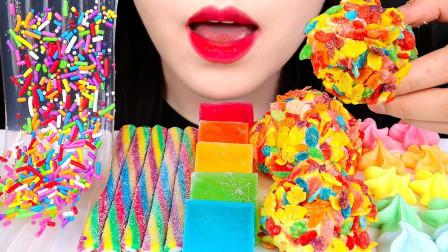 """韩国ASMR吃播:""""彩虹果冻面+宝石糖+棉花糖球"""",听这咀嚼音,吃货欧尼吃得真馋人"""