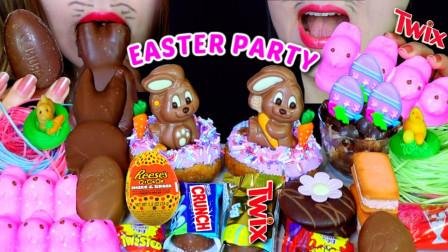 """韩国ASMR吃播:""""复活节派对"""",有巨型巧克力棉花糖、甜甜圈、食用草、巧克力蛋糕,听这咀嚼音,吃货姐妹花吃得真香"""