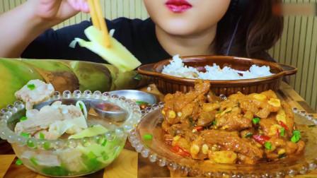 国外美女吃播:吃越南餐,红烧排骨和竹笋汤