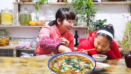 春姐做西北人最爱吃的鸡蛋烩面片,汤汁浓香面筋道,两个人吃美了