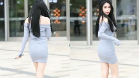 【街拍】:微胖的美女,还是挺有女人味的