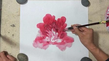国画牡丹花头的画法,红牡丹