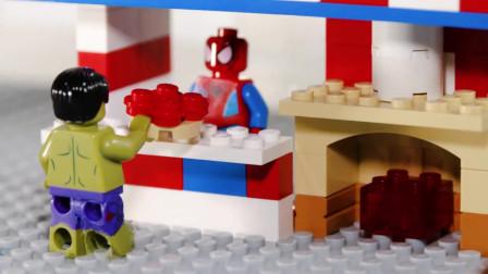 乐高积木定格小动画-蜘蛛侠的披萨店