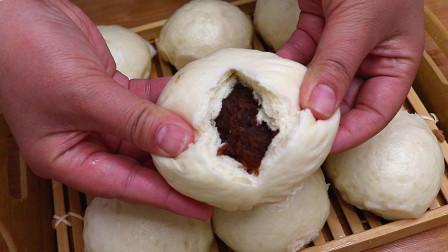 教你做软糯香甜的豆沙馒头,做法比面包简单,出锅瞬间吃光,真香