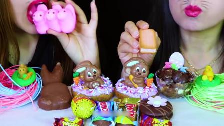 国外美女吃播:吃棉花糖巧克力+甜甜圈+蛋糕