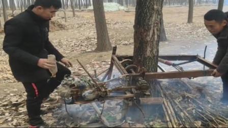 牛人发明:广西小伙自制砍树机,操作起来太方便了,网友这智商太牛了