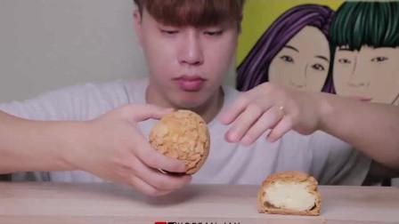 KOREANJAX吃酥皮奶油泡芙泡芙是不是法棍里塞满了厚厚的奶油哇
