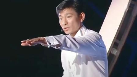 刘德华演唱会,台下好多都是明星观众,郑则仕笑容满面拿着荧光棒
