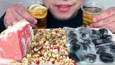 吃冰冻蛋糕,麦片,小丸子,蜂蜜红豆薏米芡实茶,听不同咀嚼音!