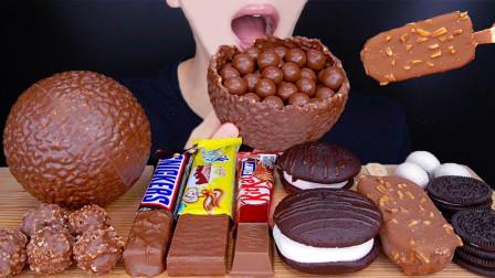 """韩国ASMR吃播:""""巧克力球+士力架+奥利奥+冰淇淋+马卡龙冰淇淋"""",听这咀嚼音,吃得真馋人"""