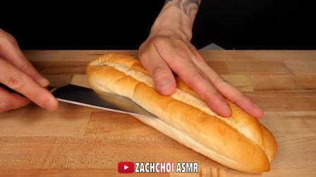 ASMR 自制芝士牛肉洋葱三明治配薯条 吃播