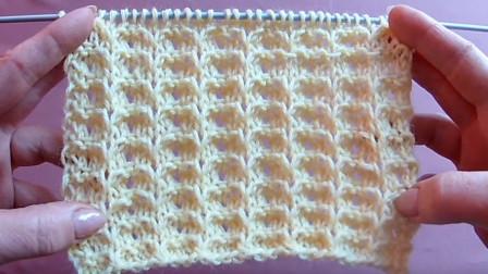 简单又清爽的一款棒针花样,浮雕肋条花编织教程,织毛衣很好看图解视频