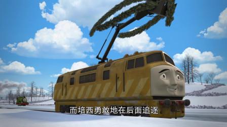 托马斯和他的朋友们 狄塞尔十偷走花环,所有蒸汽火车在后面追赶他