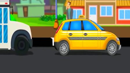 组装出租车,赶飞机,赶着上班,亲子动画