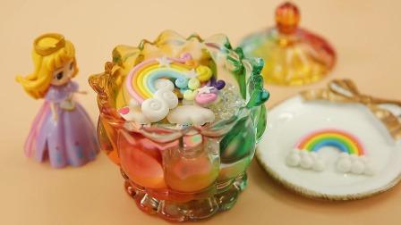 一起用粘土做彩虹蛋糕吧