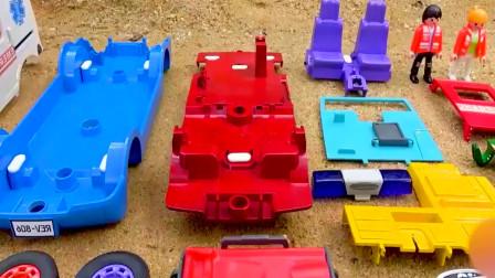 组装救护车玩具,安装车门上轮胎