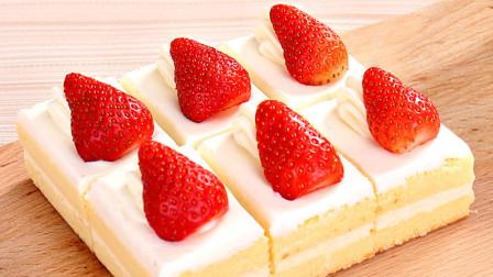 在家也做草莓蛋糕教程给你!2个鸡蛋,1碗面粉,香甜松软有营养