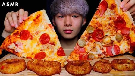 """韩国ASMR吃播:""""意大利辣肉肠披萨+洋葱圈"""",听这咀嚼音,吃货小哥吃得真馋人"""