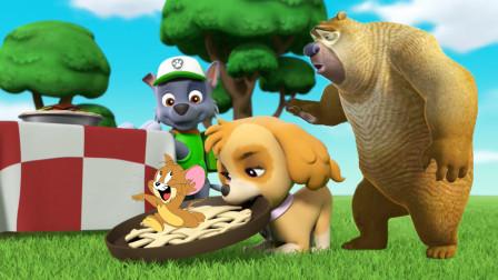 猫和老鼠杰瑞吃了汪汪队天天的苹果派,熊二带来美味的香蕉派