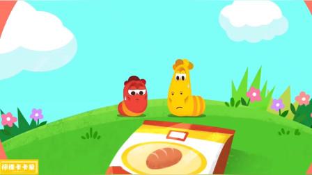 悲惨的大黄和小红,到手的香肠被抢走了!爆笑虫子趣味英语启蒙儿歌