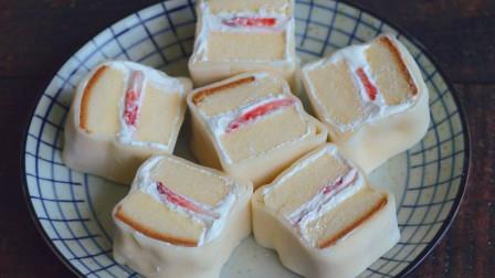 不用去蛋糕店买了,这是白玉卷的懒人做法,软糯的外皮包裹着蛋糕
