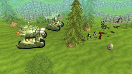 胖虎游戏:火柴人军团战争,两名冲击波士兵横扫千军,铁甲战车全程打酱油!