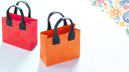 DIY简易折纸教程,手工制作迷你礼物纸袋